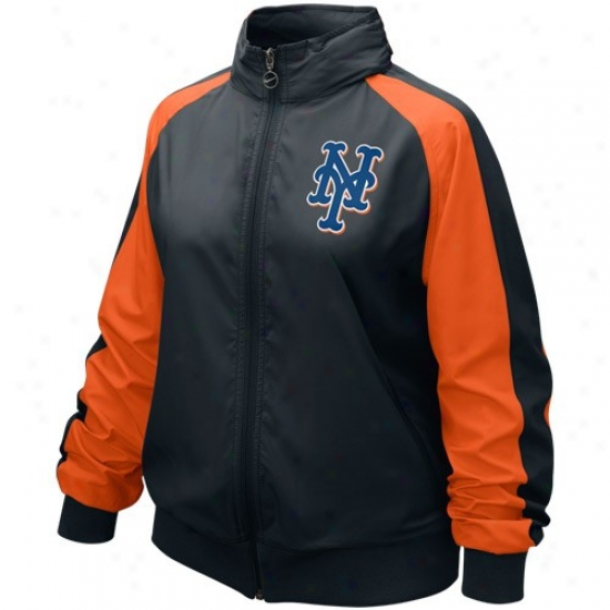 Nike New York Mets Ladies Black Mlb Full Zip Wind Jacket