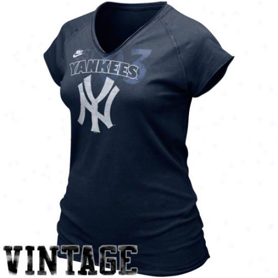 Nike New York Yankees Ladies Navy Azure Cooperstown Bases Loaded V-neck T-shirt