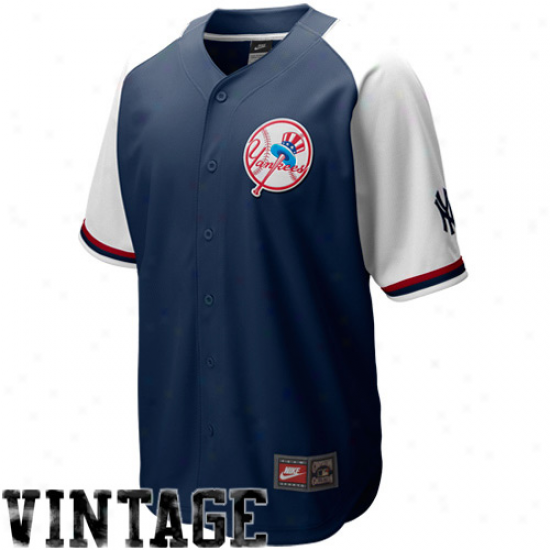 Nikw New York Yankees Ships Blue-white Cooperstown Quick Pick Vintage Baseball Jersey