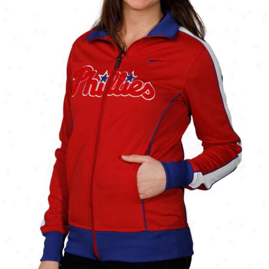 Nike Philadelphia Phillies Ladies Red 3-2 Count Filled Zip Track Jacket