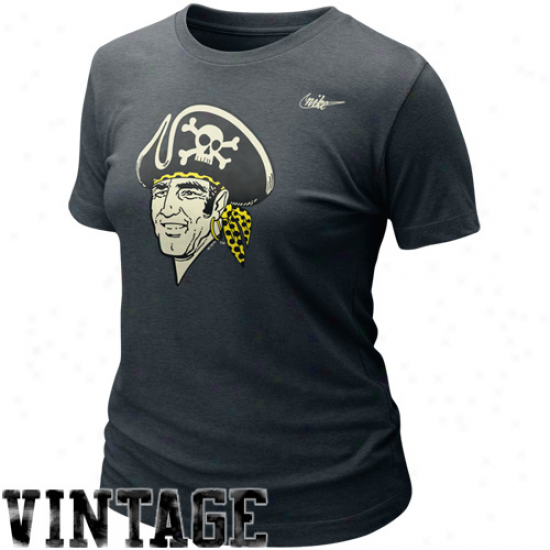 Nike Pittsburgh Pirates Ladies Cooperstown Blended Graphic Tri-blend T-zhirt - Charcoal
