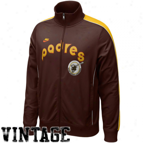 Nike San Diego Padres Brown Play At Third Cooperstown Full Zip Track Jacket