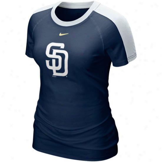 Nike San Diego Padres Ladies 2011 Centerfield T-shirt - Ships of war Blue