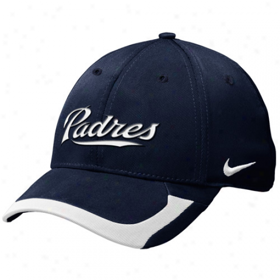 Nike San Diego Padres Tactile Ii Bequest 91 Swoosh Flex Fi tHat - Navy Blue