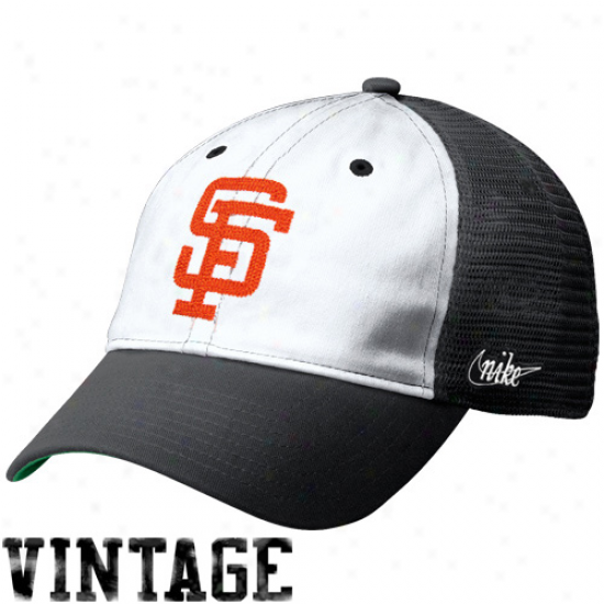 Nike San Francisco Giants Heritage 86 Vintage Relaxed Adjustable Trucker Hat - Black-white