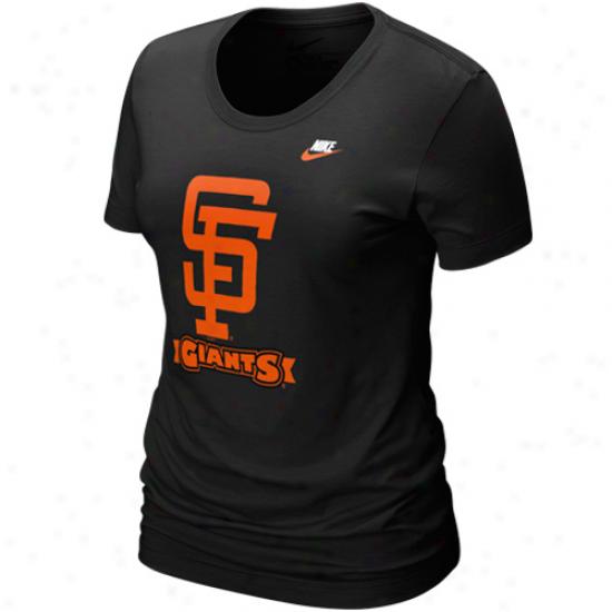 Nike San Francisco Giants Lsdies Black On Deck T-shirt