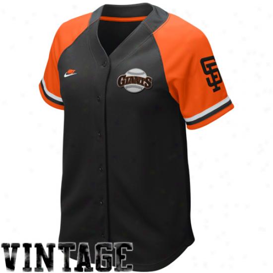 Nike San Francisco Giants Womens Black-orange Cooperstown Quick Pick Vijtage Baseball Jersey