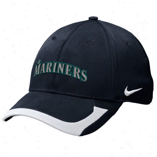 Nike Seattle Mariners Tactile Ii Legacy 91 Swoosh Flex Fit Hat - Navy Blue
