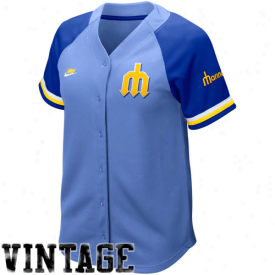 Nike Seattle Mariners Womens' Light Blue-royal Blue Cooperstown Quick Picj Vintage Baseball Jersey