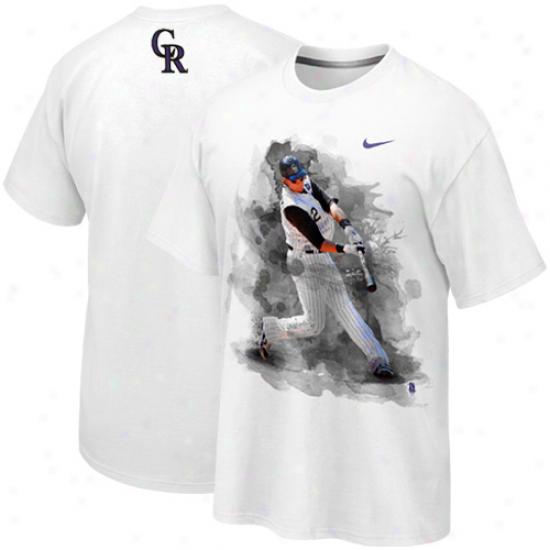 Nike Troy Tulowitzki Colorado Rockies Plsyer T-shirt-  White