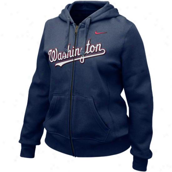 Nike Washington Nationals Ladies Navy Blue Into Seams Full Zip Hoody Sweatshirt