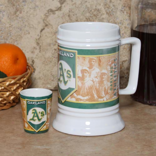 Oakland Athletics 20oz. Stein & 2oz. Shot Glass Set