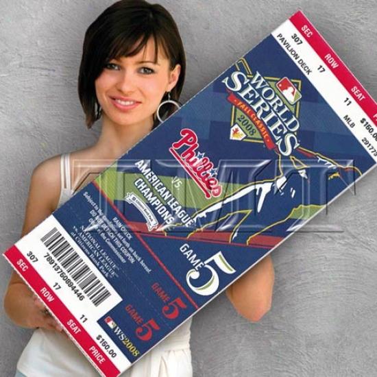 Philadelphia Phillies 2008 World Succession Canvas Mega Ticket