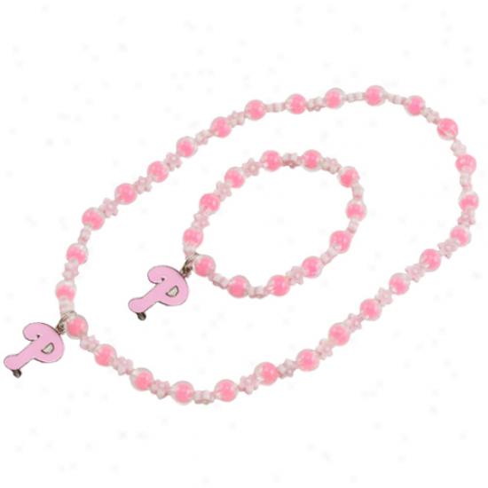 Philaselphia Phillies Girls Pink Sophie Beaded Team Logo Bracelet & Necklace Set