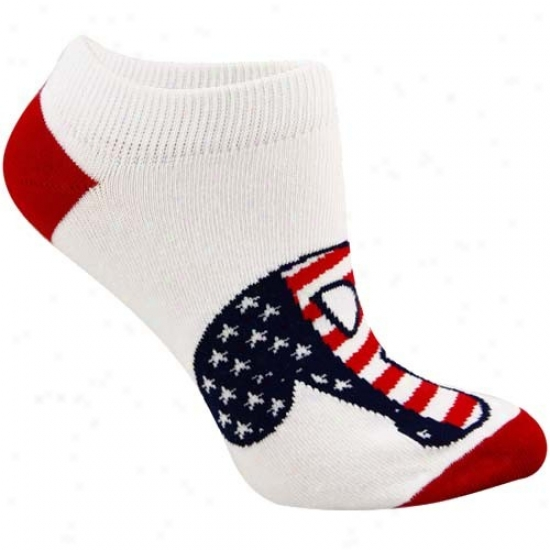 Philadelphia Phillies Ladies White Patriotic Ankle Socks