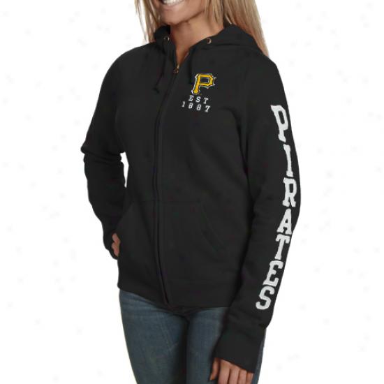 Pittsburgh Pirated Ladies Black Team Spirit Full Zip Hoody Sweatshirt