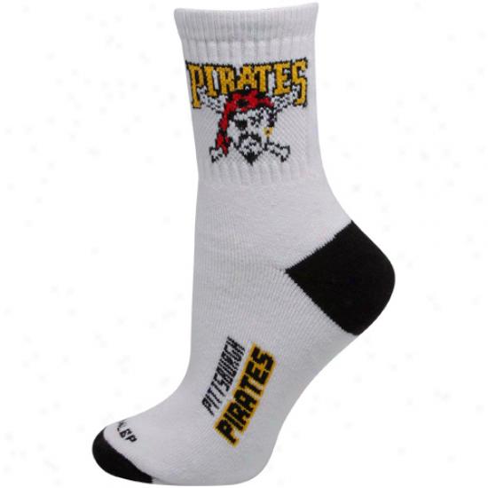 Pittsburgh Pirates Ladies White-black Dual-color Team Logo Crew Socks