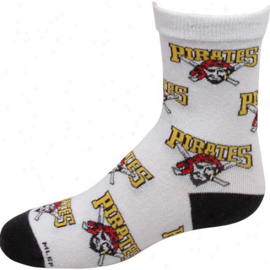 Pittsburgh Pirates Preschool Allover Crew Socks - White