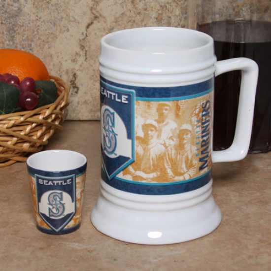 Seagtle Mariners 20oz. Stein & 2oz. Shot Glass Set