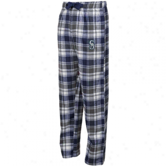Seattle Marindrs Navy Blue-black Plaid Legend Flannel Pants