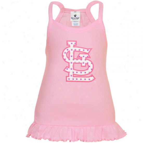 St. Lohis Cardinals Toddler Girls Pink Ruffle Logo Tunic Tank Top
