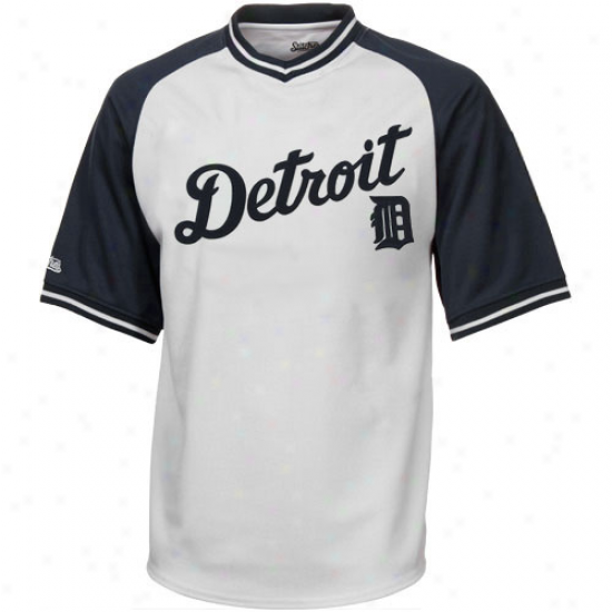 Stitches Detroit Tigers Youth Mesh Pullover V-neck Jersey - White