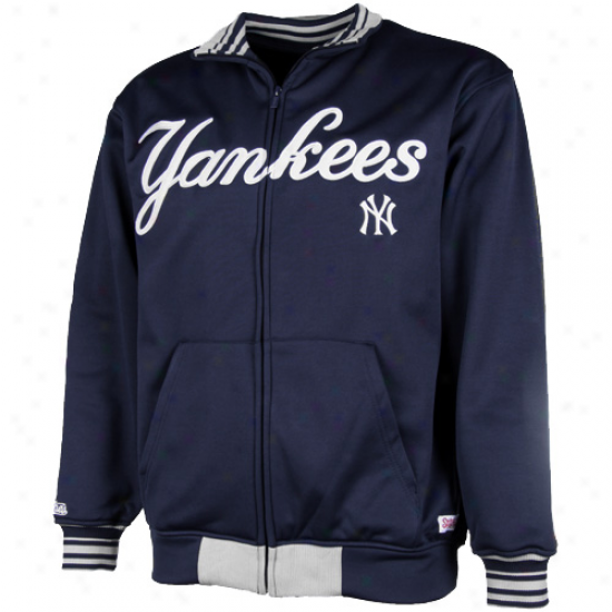 Stitches New York Yankees Navy Blue First Base Full Zip Track Jacket