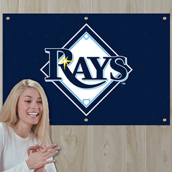 Tampa Bay Rays 3' X 2' Navy Blue Applique Logo Fan Banner