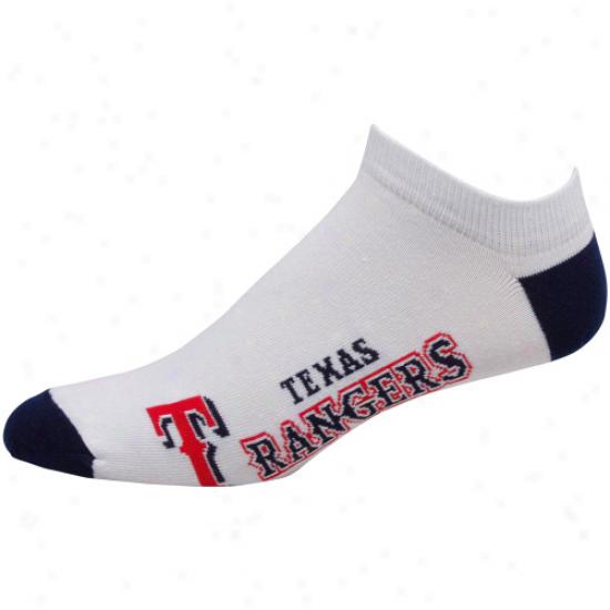 Texas Rangers White Team Logo Ankle Socks