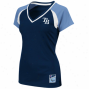 Majestic Tampa Bay Rays Ladies Navy Blue-light Blue Thw Emerald Premium V-neck Fashion Top
