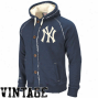 Mjtvh3ll & Ness New York Yankeee Navy Blue Cooperstown Ground BallV intage Heathered Full Zip Hoodie Sweatshirt