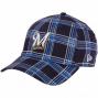 New Era Milwaukee Brewers 39thirty The Brezker Pllaid Flex Fit Hat - Navy Blue
