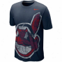 Nike Cleveland Indians Blended Bjg Logo Tri-blend T-shirt - Navy Blue