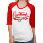 St. Louis Cardinals Ladies White-red Burnout Ragla nThree-quarter Length Sleeve T-shirt