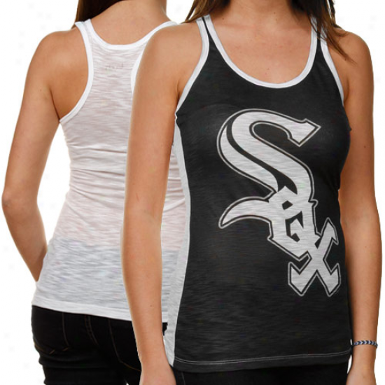 Touch By Alyssa Milano Chicago White Sox  Ladies Sublimated One Time Burout Tank Top - Black-white