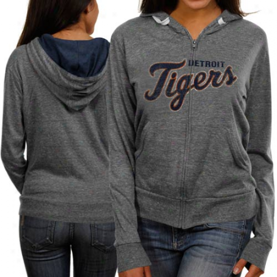 oTuch By Alyssa Milano Detroit Tigers Ladies Ash Tried & True Full Zip Hoodie Sweatshirt