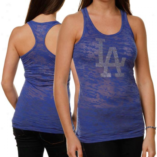 Touch By Alyssa Milano L.a. Dodgers Ladies Royal Blue Double V Triblend Premium T-shirt