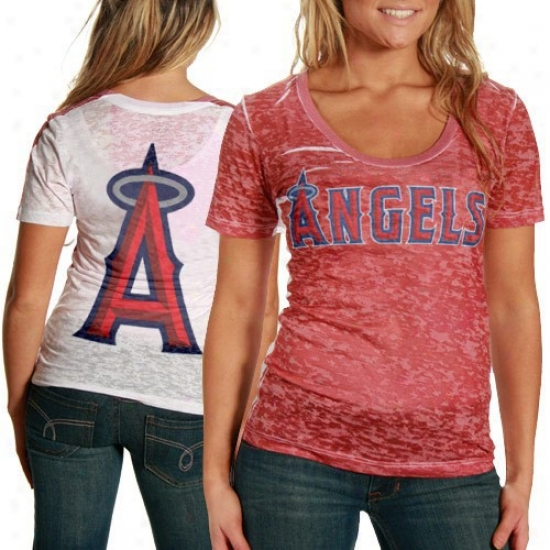 Touch By Alyssa Milano Los Angeles Anvels Of Anaheim Red-white Superfan Sublimated Sheer Burnout Premium T-shirt
