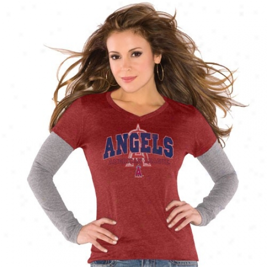 Touch By Alyssa Milano Los Angeles Angels Of Anaheim Ladies Red Double V Triblend Premium T-shirt