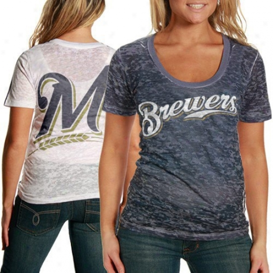Touch By Alyssa Milano Milwaukee Brewers Nsvy Blue-white Superfan Sublimated Sheer Burnout Premium T-shirt