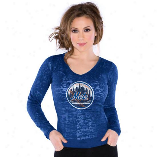 Touch Along Alyssa Milano Ne wYork Mets Ladies Burnout Thermal V-neck Long Sleeve Premium T-shirt - Royal Blue