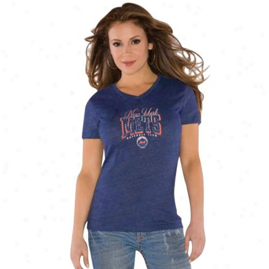 Touch By Alyssa Milano New York Mets Ladies Royal Blue Dazzle V Triblend T-shirt