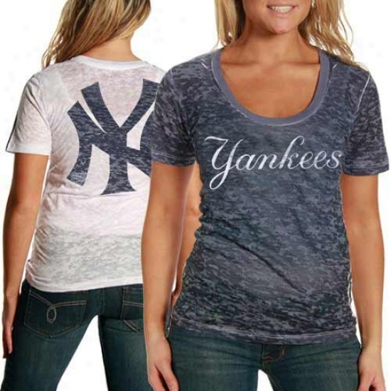 Touch By Alyssa Milano Starting a~ York Yankees  Ladies Sublimated One Tlme Burnout Tank Summit - Navy Blue-white