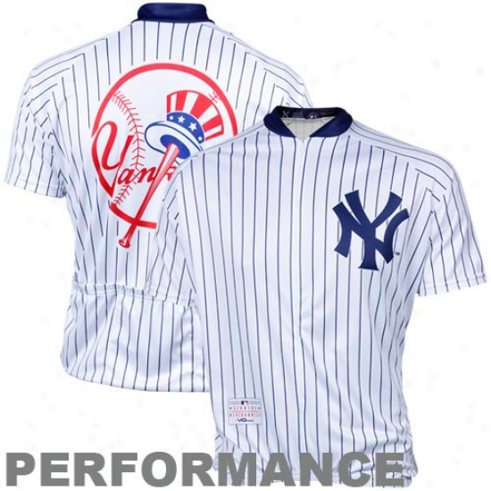 Vomax New York Ynkees Stock Performance Cycling Jersey - White Pinstripe