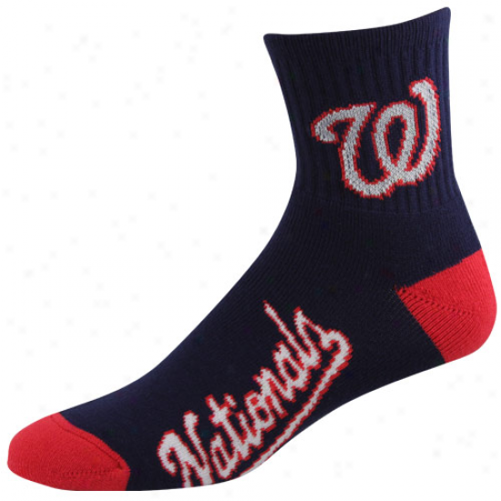 Washington Natiobals Team Logo Crew Socks - Navy Blue