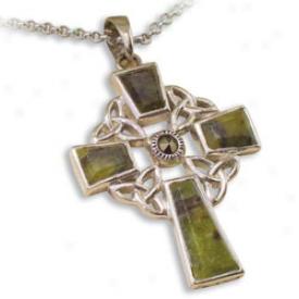 Connemara Marble Trinity Cross Pendant Necklace