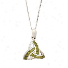 Connemara Marble Trinity Knot Pendant Necklace