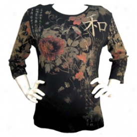 Flowers Of The East Tee Small-black
