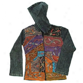 Folk Art Ladies Hooded Jacket Small-black