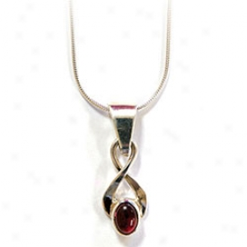 Garnet Twist Ladies Pendant Necklace